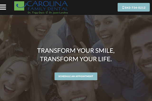 A screenshot of the homepage of Carolina Family Dental's website, featuring a hero photo of a variety of people smiling.